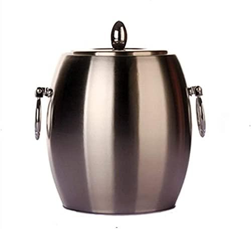 PXY Práctico Y Seguro Cubo de Hielo de Doble Pared de Acero Inoxidable con Tapa Enfriador de Vino de Champán de Metal Decorativo Accesorios para Bar Y Vasos