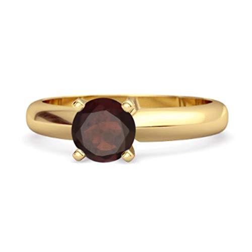 Shine Jewel Multi Elija su Solitario de Piedras Preciosas 0.25 CTS Anillo Plateado en Oro Amarillo de Talla Brillante 925 (15, Granate)
