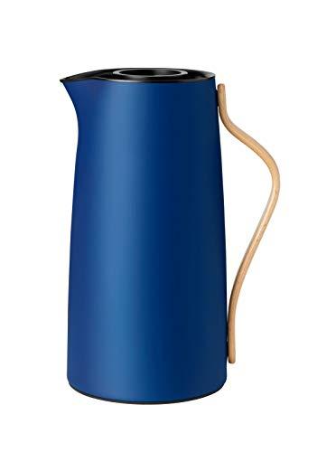 Stelton Isolierkanne Emma für Kaffee aus Kunststoff mit Buchengriff in blau, 1.2l