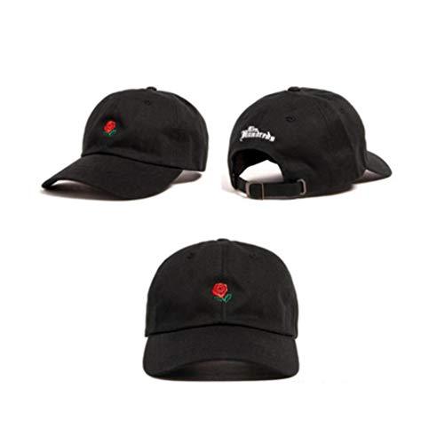 QERTYU 100% Baumwolle Rose Stickerei Hut Schwarze Kappe Leere Snap-Back Hip Hop Papa Mütze Hüte Männer Frauen Visier Hut Skateboard-4