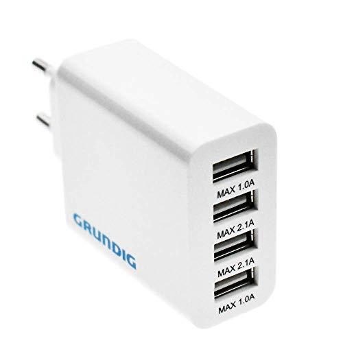 GRUNDIG 4 Ports USB Ladegerät für Smartphone, Tablet UVM.