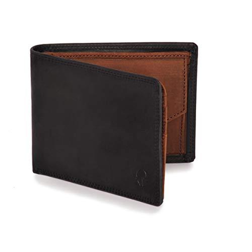 Donbolso Geldbörse Berlin Leder Herren - Geldbeutel schwarz braun - Portemonnaie für Männer mit RFID Schutz - Echtleder Portmonee