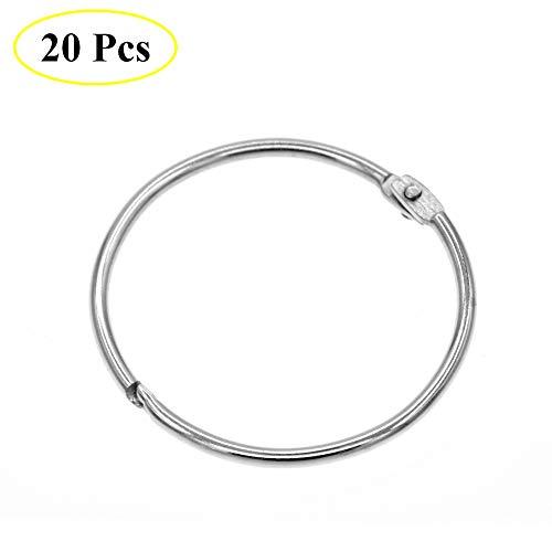 Coideal Metall-Rundduscherring, einfach zu öffnen und zu schließen, 20 Pack Silber 2 Zoll DiDurchmesser Drape Ringschlaufen für Bad, Home-Dekoration, bewegliche Klappe geeignet für Fixed Pole (50 mm)
