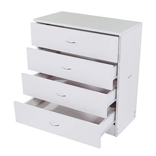 WUCHENG Madera Simple 4 cajón Nightstand Muebles Cómoda Gabinete de Almacenamiento Blanco Muebles de Dormitorio mesitas de Noche (Color : White)