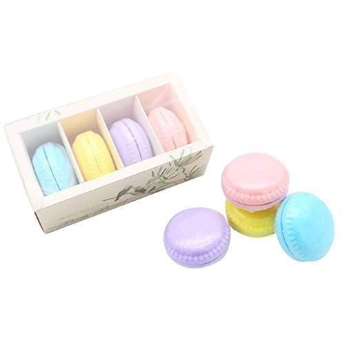 TOOGOO Bombes de Bain Gateau Macaron Boule de Sel pour Bain Moussant Aux Huiles Essentielles Aromathérapie Baignoire Boule D'Explosion 4 Pièces (Multicolore)