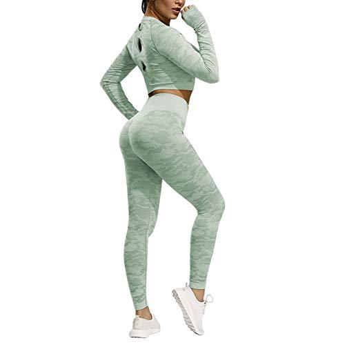 Haodasi Frauen Gym Crop Tops Langarm Tarn Nahtlose Sport Yoga T-Shirt Oberteil Leggings Workout Fitness Outfit