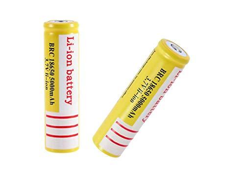 Baterías para Luces solares de jardín Batería Recargable de Iones de Litio 18 * 65 Mm 3.7 V 5000 Mah Batería para Linterna LED Pilas Recargables de Iones de Litio con Caja de batería - (2 Piezas)