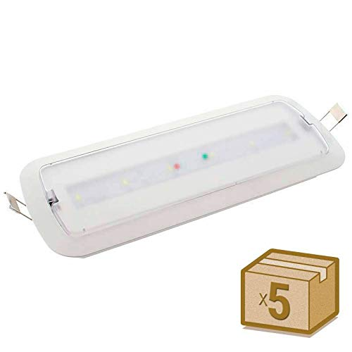 Pack 5 unidades Luz Emergencia LED NICELUX PRO 3W, 200 lumenes. Permanente - No permanente. 3 Horas de Autonomía Blanco Frío 6000K. Instalación de Superficie y Empotrable