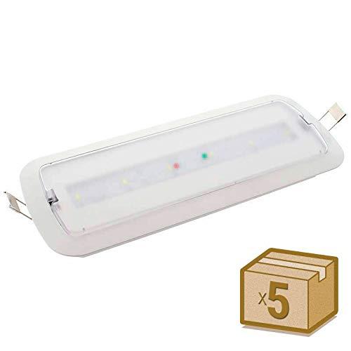 Pack 5 unidades Luz Emergencia LED NICELUX PRO 3W, 200