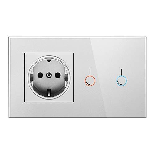 DJNCIA Panel de interruptores Interruptor de Sensor táctil con zócalo con Pantalla de Cristal USB 146 * 86 220V 16A Toma de Pared con Interruptor de luz 1 para Oficina en casa