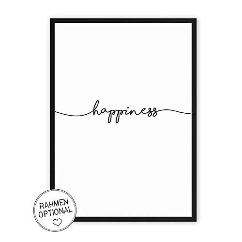 Wunderpixel® Kunstdruck happiness - auf wunderbarem Hahnemühle Papier DIN A4   ohne Rahmen- schwarz-weißer FineArt-Print Poster zur Wand-Dekoration im Büro/Wohnung/als Geschenk-Idee zum Geburtstag