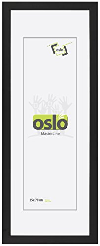 OSLO MasterLine Bilderrahmen 25 x 70 schwarz Holz Echtglas Profil 2,5 cm Panoramarahmen Collagenrahmen Poster-Rahmen
