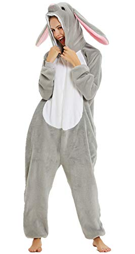 Adulto e Bambino Unisex Unicorno Tigre Leone Volpe Tutina Animale Cosplay Pigiama Costume di Carnevale di Halloween Fancy Dress Loungewear (Coniglio, L Altezza di 165-175 cm)