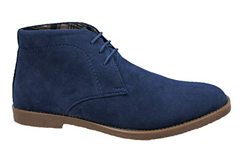 Evoga Scarpe polacchine uomo scamosciate calzature inglesine casual eleganti (44, Blu)