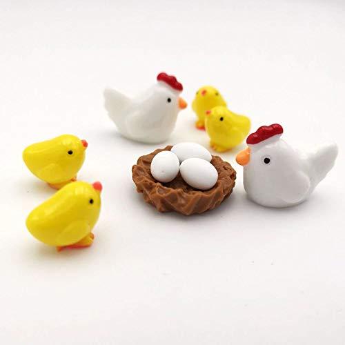 Armena Miniatur Figurenset Mini Tierfiguren, Küken, Ei, Hühnernest 10 Stücke Garten Ornamente Henne 2.5X2cm Küken1.6X1.4cm, Weiß Gelb Braun
