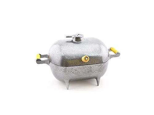 Mini Churrasqueira A Bafo Alumínio Fundido Craqueada Prata