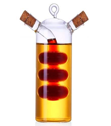 Ölflasche Glas mit Korken 2in1 | 300ml - 19cm | Mundgeblasen | Karaffe - Ölkanne für Olivenöl und Essig