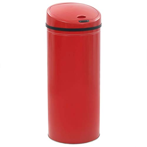 *Festnight- Sensor Mülleimer | Automatik Abfalleimer | Automatik Müllbehälter | Küche Bad Wohnzimmer Abfallbehälte | Mit LED-Kontrollleuchten | Rot Edelstahlgehäuse 62 L*