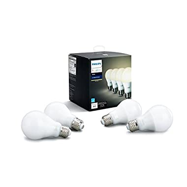 Philips Hue White A19 4-Pack 60W Equivalent Dimmable LED Smart Bulb (4 A19 60W White Bulbs  Compatible with Amazon Alexa  Apple HomeKit and Google Assistant)