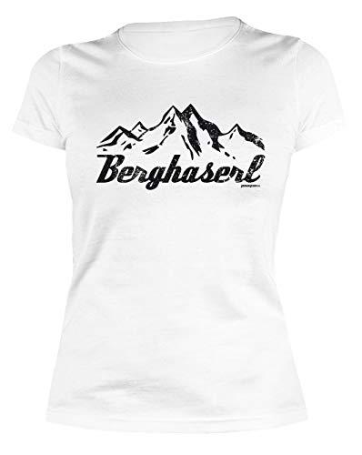 Wanderer Klettern Berg Wandern feminines Damen T-Shirt BERGHASERL Gebirge Bergsport Skifahrer Bekleidung Girl Mädchen Fun Shirt Gr. S :