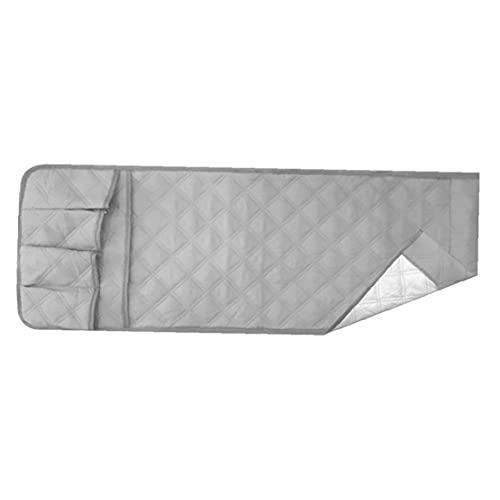 NIDONE Soporte para reposabrazos, organizador de reposabrazos, bolsa de almacenamiento con 5 bolsillos para teléfono, libro de TV, mando a distancia, 89 x 33 cm, color gris