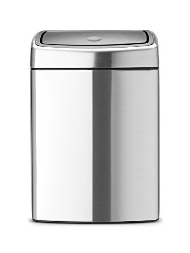 Touch Bin 10 L rechteckig mit Kunststoffeinsatz / Matt Steel Fingerprint proof