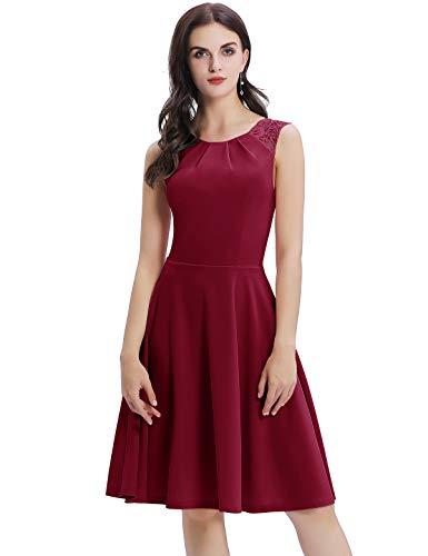 Bbonlinedress Sommerkleid Damen Cocktailkleid Kleider im Sommer Spitzenkleid Rockabilly 50er Vintage Knielang Ärmellos Claret S