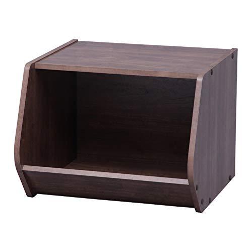 Marca Amazon - Movian Nicho de almacenamiento abierto en madera - Caja de almacenamiento modular de madera apilable STB-400 - Roble marrón, 40 x 38,8 x 30,5 cm de ancho (531484)