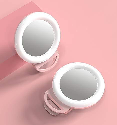 BUSUANZ Luz de anillo para selfie, luz de relleno de espejo de maquillaje en vivo para teléfono móvil, luz de relleno portátil LED de alta definición, color rosa