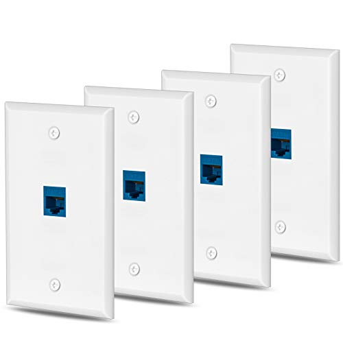 4 Packs cat6 Ethernet Wall Plate Outlet 1 Port RJ45 Network Female to Female Keystone Wall Coupler Jack Plate - Blue