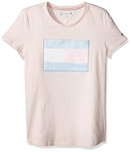 Tommy Hilfiger Fur Flag tee S/s Camiseta, Rosa (Barely Pink 617), 116 para Niñas
