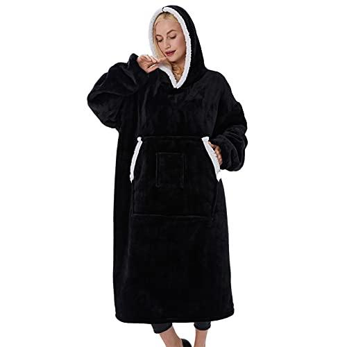 SHUOJIA Manta Tipo Sudadera con Capucha, Invierno Cálido Suave Forro Polar Sherpa De Gran Tamaño Manta De TV Camisón Pijamas para Hombre Mujer (???)