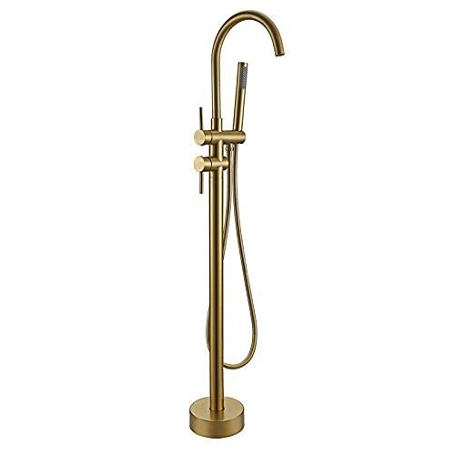 FWZJ Grifo de bañera Redondo Cepillado Oro Viejo Grifos de bañera Gran Altura Redonda Independiente Caño de Ducha Grifo Mezclador de baño Grifo Montado en el Suelo
