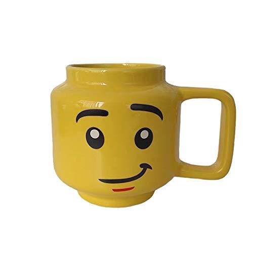 BJHSYNDR Coffee Cup255Ml Taza de cerámica Taza de Lego Sonrisa Expresión Cara de Dibujos Animados Café Leche Taza de té Taza de RegaloTaza
