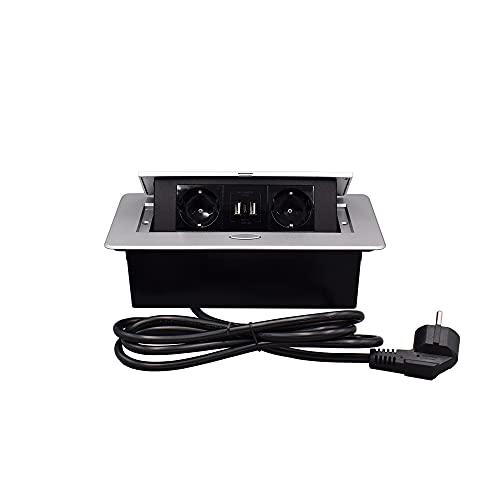 Ciabatta elettrica nascosta, con 3 prese e 2 porte USB Typeec Connection Box