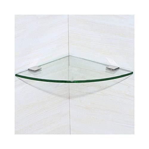 NUOCHEN Bathroom Shower Corner Shelf Shower Caddy Shelving Tempered Glass Corner Bath Shelf Wall Mounted Shower Shelf Bathroom Storage Lavatory Accessories (Size : 30CM) (Size : 24CM)