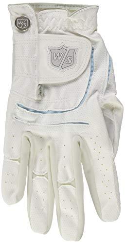 Wilson Staff Damen Golfhandschuh, Grip Plus, Material-Kombi, Größe: L, Linkshand, LLH, weiß, WGJA00101L