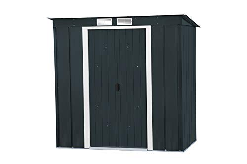 Duramax ECO Pent Roof 6 x 4 Hot-Dipped Galvanized Metal Garden Tool Storage Shed-Anthracite with Off-White Trimmings