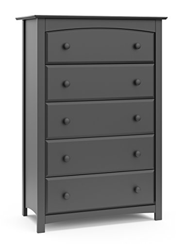 Storkcraft Kenton 5 Drawer Universal Dresser, Gray, Kids Bedroom Dresser with 5 Drawers, Wood and Composite Construction, Ideal for Nursery Toddlers Room Kids Room