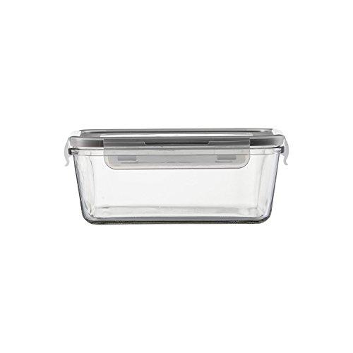 JENAER GLAS 118309 Transparente Quadratische Box mit einem Klick Deckel, 1600 ml