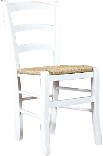 Biscottini Sedia in Legno massello di faggio Finitura Bianco Laccato con Seduta in Paglia L45xPR45xH88 cm Made in Italy