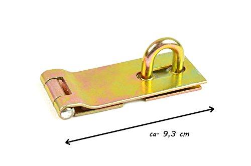 * Sicherheitsüberfalle für Vorhängeschloss | gelb verzinkt mit verdeckten Schraublöchern | Verriegelung Türriegel Schloss | 93 mm x 37 mm