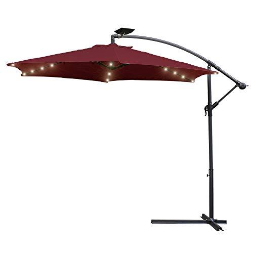 Hengda Ampelschirm 300 cm Sonnenschirm mit LED Beleuchtung Gartenschirm Kurbelschirm mit Kurbelvorrichtung Sonnenschutz