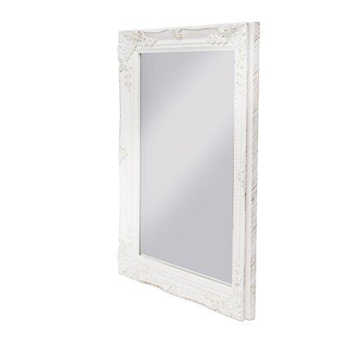 elbmöbel 37x47x3,5cm rechteckiger Wand-Spiegel, handgefertigter Vintage-Antik-Rahmen, weiß, inkl. Befestigung