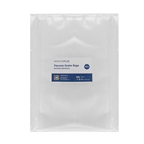Inkbird Bolsas de Vacio Gofradas para Alimentos 20x30cm 50 Bolsas para Envasadora al Vacío y Sous Vide Cocina, Boilable y Sin BPA