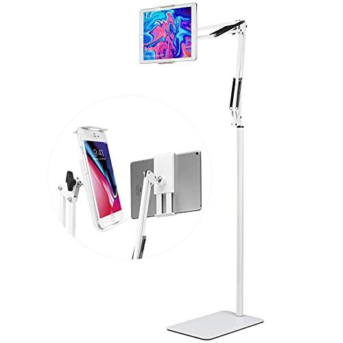 Spessn Soporte de Pie para Tablet, Universal Giratorio Soporte de Metal para Cama para Samsung Galaxy Tab y Teléfonos(Blanco)