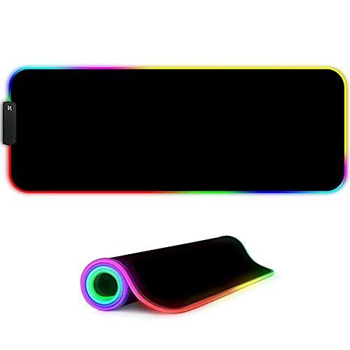 MARCELEN RGB Gaming Mauspad 800x300x4mm XL RGB LED Schreibtischunterlage Große Mousepad Wasserdicht Anti Rutsch Matte für Computer PC Professionelle Gamer Gaming Mousepad Schwarz
