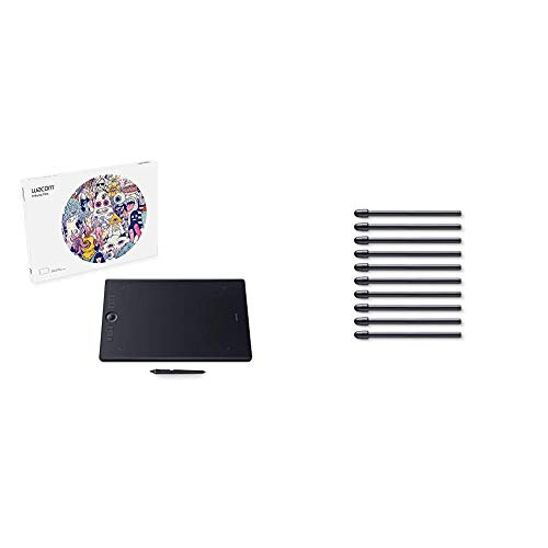 Wacom Pth860 Intuos Pro Digital Graphic Drawing Tablet For Mac Or Pc, Large, New Model, Black & Standard Nibs For Digital Pro Pen 2 (10 Pack) (Ack22211)