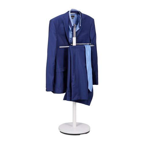 Relaxdays dressoir, kledingstandaard van hout en metaal, kledingbutler vrijstaand, h x b x d: ca. 114 x 46 x 30 cm, wit