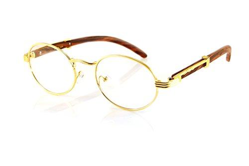 FBL Vintage Oval Clear Lens Metal & Wood Feel Eyeglasses A103 (Gold/Brown)